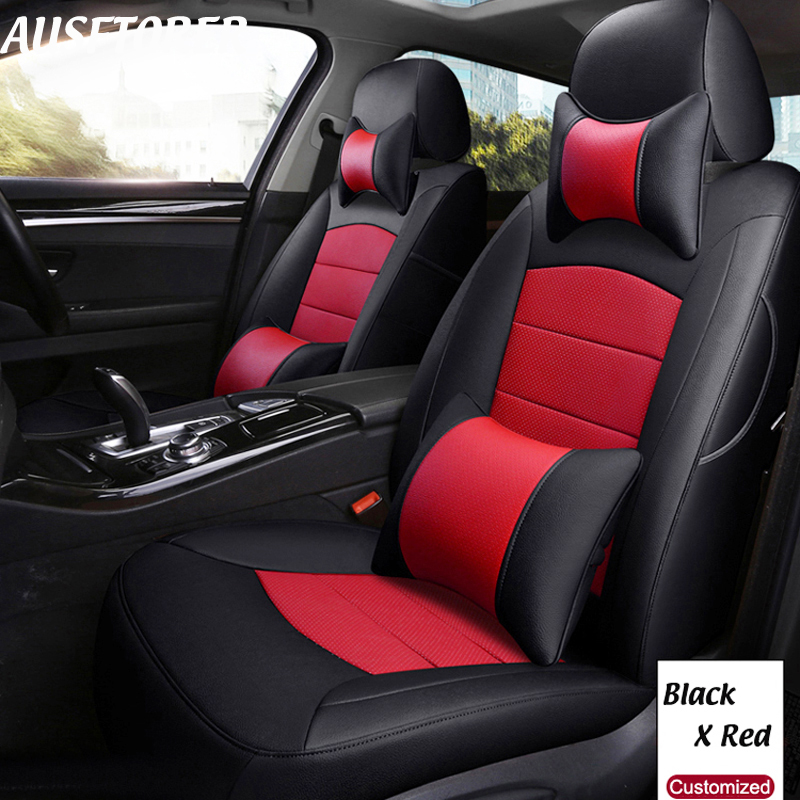 AUSFTORER Cowhide Seat Covers for Volkswagen (VW) Multivan T5 Automobiles Seat Cover Genuine Leather 7 Seats Cushion Accessories