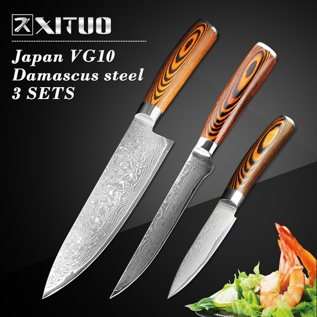 XITUO 3 Pcs Kitchen Knives Set Japanese Damascus Steel Kitchen Knife VG10  Chef Boning Paring Santoku