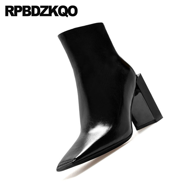 Fourrure Chaussures Cuir Chunky Noir Étrange Talon Orteil Cheville Brevet En 2018 Haut De Carré Luxe Bottes Hiver Marque Femmes Automne w8XFt
