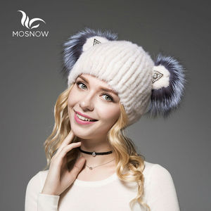 Image 2 - 2019 Brand New Hat Female Winter Real Mink Fur With Cute Cat Ear Knitted Striped Solid Casual Women Hat Caps Bonnet Femme