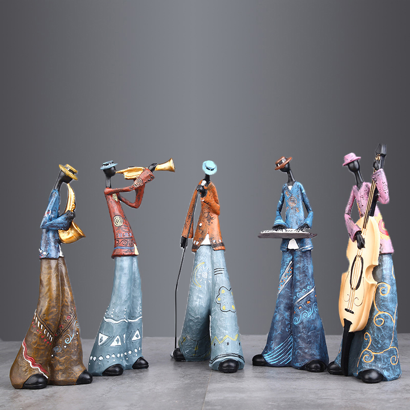 People Rock band art musical instrument character model resin craftwork statue figurine home decoration