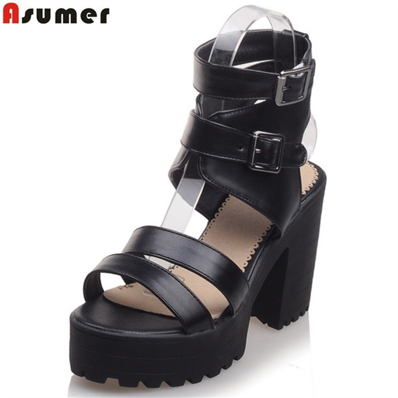 Asumer 2017 new arrive women sandals fashion buckle solid color square heels platform lady prom shoes summer high heels shoes xiaying smile summer new woman sandals platform women pumps buckle strap high square heel fashion casual flock lady women shoes