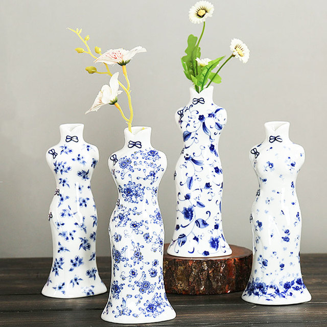 Creative Cheongsam Vase Terrarium Decoration Flower Chinese Blue White Porcelain Plant Stand