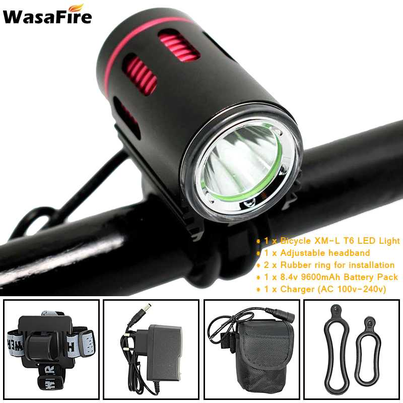 WasaFire Bicycle Light XM-L2 LED 2000 Lumens 4 Modes Front Bike Head Light Battery Pack Charger Riding Cycing Bike Light Gift