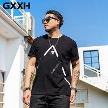 GXXH бренд, большой размер, XXL-7XL, Мужская футболка с круглым вырезом, с геометрическим принтом, свободная, повседневная, черная, Мужская футболка с коротким рукавом