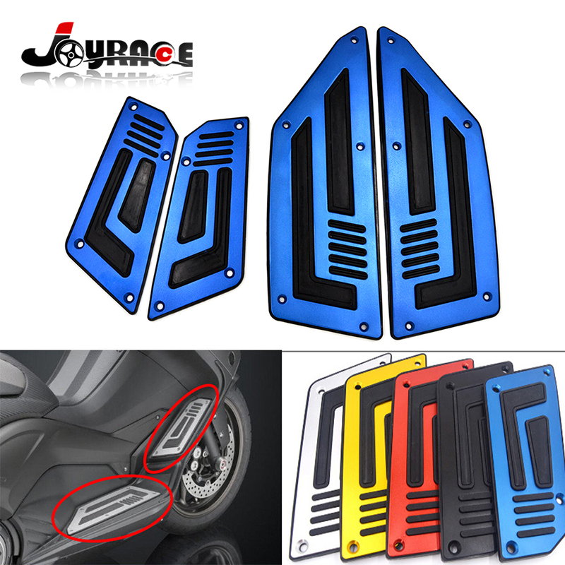 Motorcycle Rider Insert Footboards Footrest Step Pad for Yamaha TMAX T Max 530 Front and Rear Footpeg Aluminum with Rubber cnc aluminum motorcycle rear passenger foot pegs pedals footrests for yamaha tmax 500 tmax 530 t max500 t max530 t max mt07 mt09