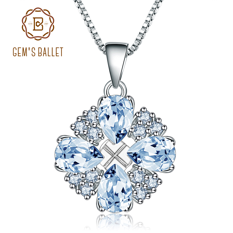 Gem's Ballet 925 Sterling Silver Women Fine Jewelry 3.74Ct Natural Sky Blue Topaz Gemstone Pendants Necklace