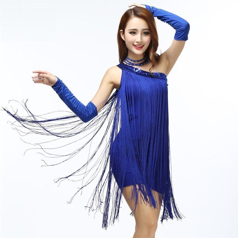 Single Shoulder Fringe Dresse one shoulder sloping shoulder slim hip vest dress flare sequined club mini dance dress with tassel