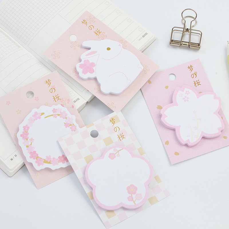 30sheets/pc Kawaii Rabbit and Sakura Sticky Notes Cute Diary Stickers Memo Pad Paper Bookmarks Memo Label Post It Gift For Kids