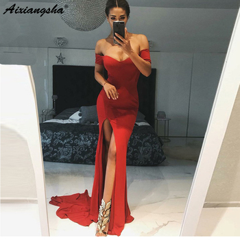 Charming Red Mermaid Long Evening Dress Side Split Off The Shoulder Floor Length Sexy Prom Gown 2019 New Wedding Party Dresses