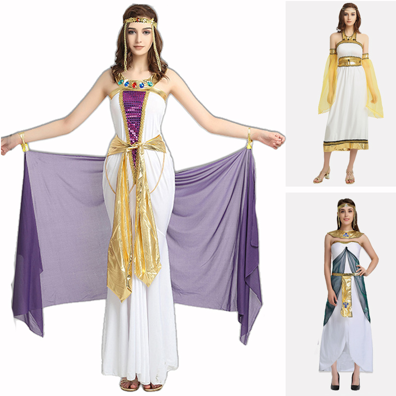Princess Cleopatra Ladies Fancy Dress Egyptian Nile Queen Womens Adults Costume