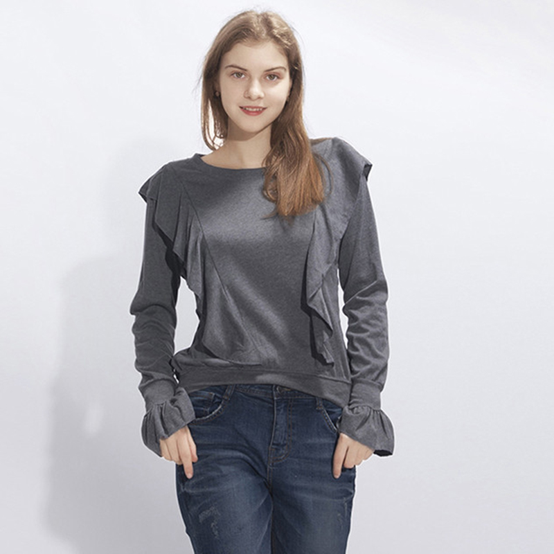 Autumu Knitted Pullovers Casual Solid Color Ruffled Sweaters For Women Long Sleeve Tops Autumn Jumper