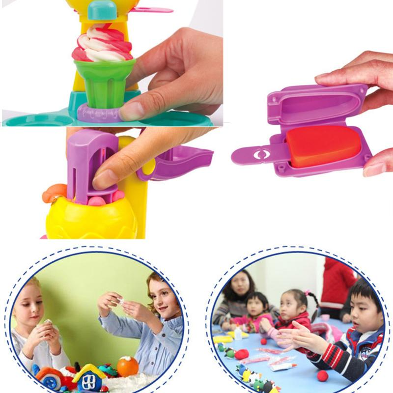 Kids Ice Cream Machine Clay Play Toy Colorful Fast Food Creative Baby Kids Educational Toy Plasticine Tool Mold Kits Toy Gift