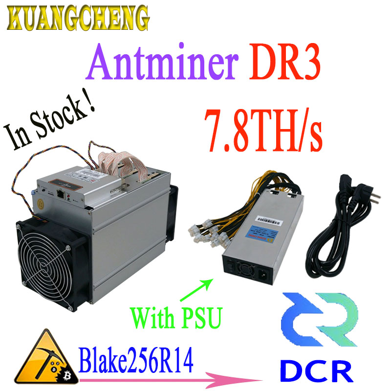 En stock! Date Asic Antminer DR3 7.8TH/S Blake256R14 DCR Mineur Avec 1800 w PSU Le bénéfice est mieux que antminer s9 Z9mini L3