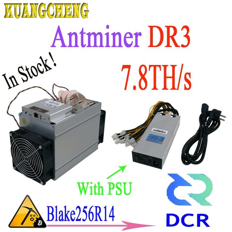 En stock! Plus récent Asic Antminer DR3 7.8TH/S Blake256R14 DCR Mineur Avec 1800 w PSU l'avantage est mieux que antminer s9 Z9mini L3