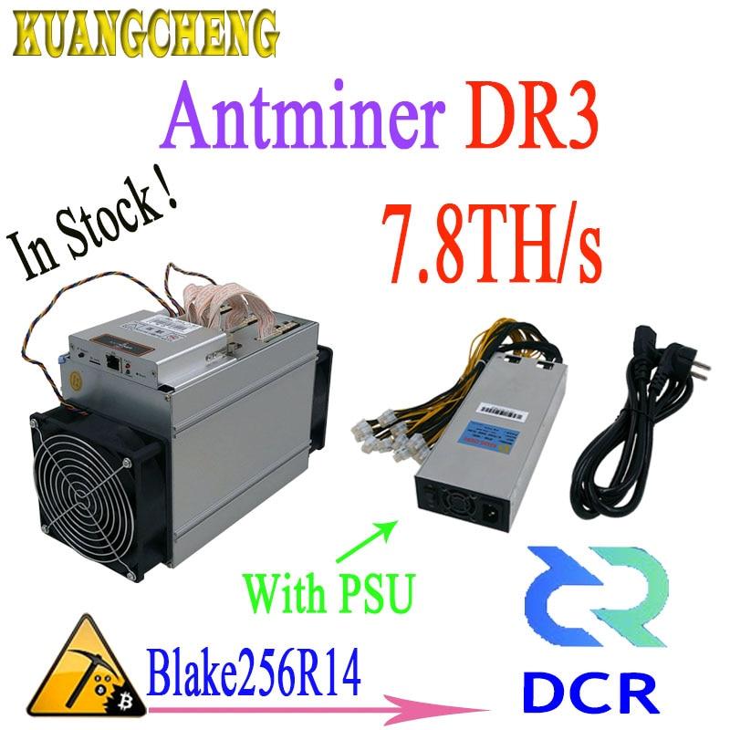In magazzino! Più nuovo Antminer Asic DR3 7.8TH/S Blake256R14 DCR Minatore Con 1800 w PSU Il vantaggio è meglio di antminer s9 Z9mini L3