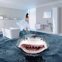 Free Shipping High definition terror shark 3D floor map wallpaper bathroom office studio non slip floor wallpaper mural