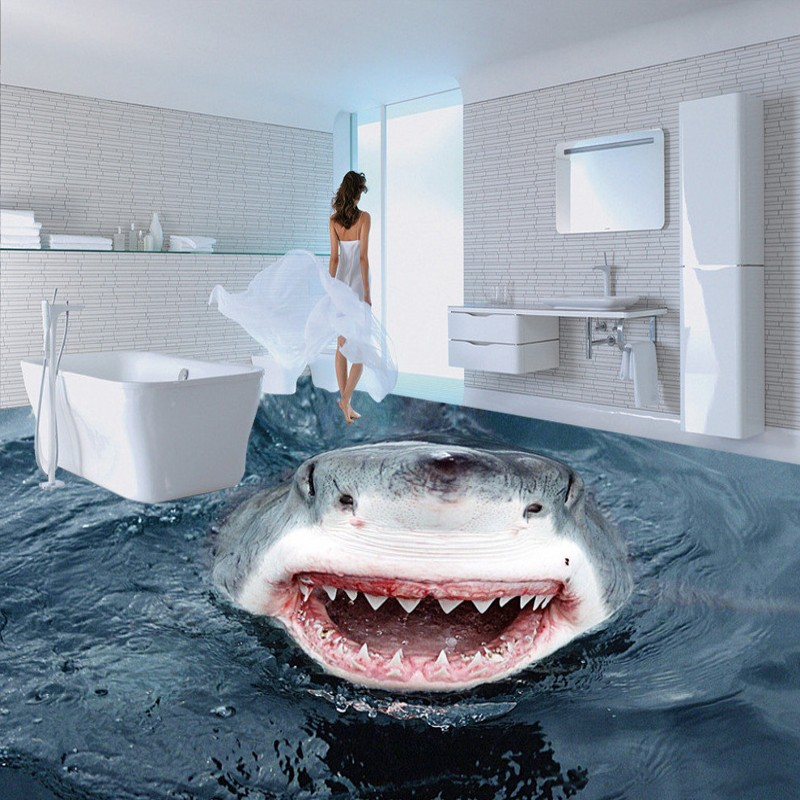 Free Shipping High - definition terror shark 3D floor map wallpaper bathroom office studio non-slip floor wallpaper mural