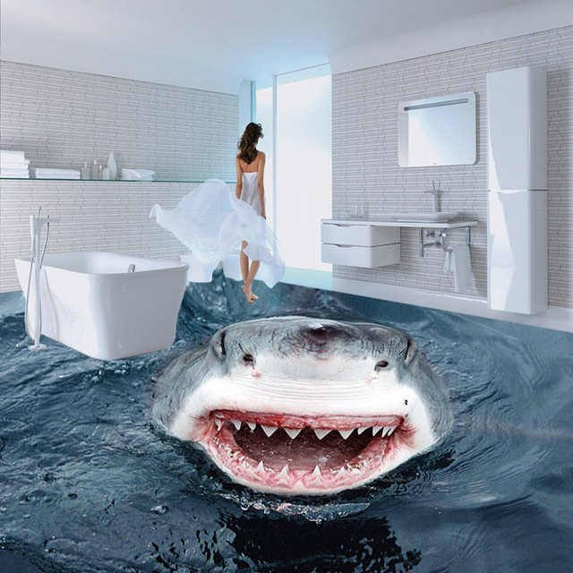 Free Shipping High Definition Terror Shark Floor Map Wallpaper Bathroom Office Studio Non
