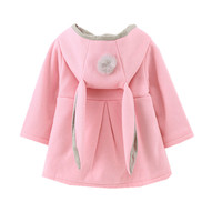 2019 new autumn Baby Girls Coat Jacket Rabbit Ear Hoodie Casual Outerwear winter baby girl Infant clothes bebe children clothing