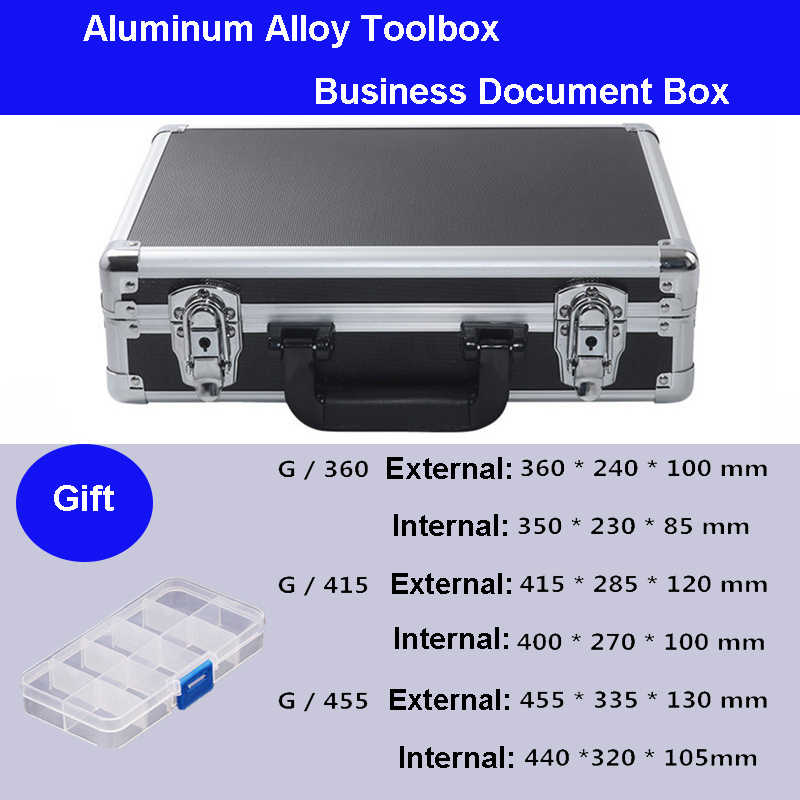 Aluminium Tool Case Koffer Toolbox Business Bestand Doos Slagvast Veiligheid Case Apparatuur Camera Case Met Pre-Cut Foam