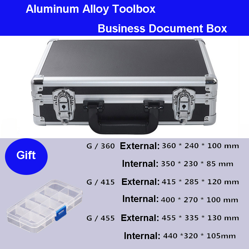 Aluminum Tool case suitcase toolbox business File box Impact resistant safety case equipment camera case with pre-cut foam