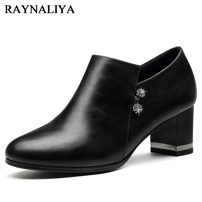2018 New High Heeled Shoes Thick Heel Pumps Women Genuine Leather Shoes Comfort Office Lady Work Ol Shoes YG-A0095 winter long thick hoodied cotton coat fashion pattern parka jacket women cotton padded clothing girl fashion slim body pockets