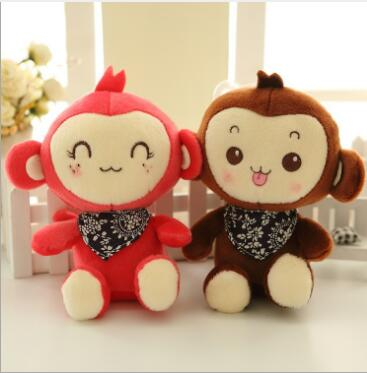 WYZHY Mascot bib monkey figurine plush toy wedding mixed color delivery 20cm