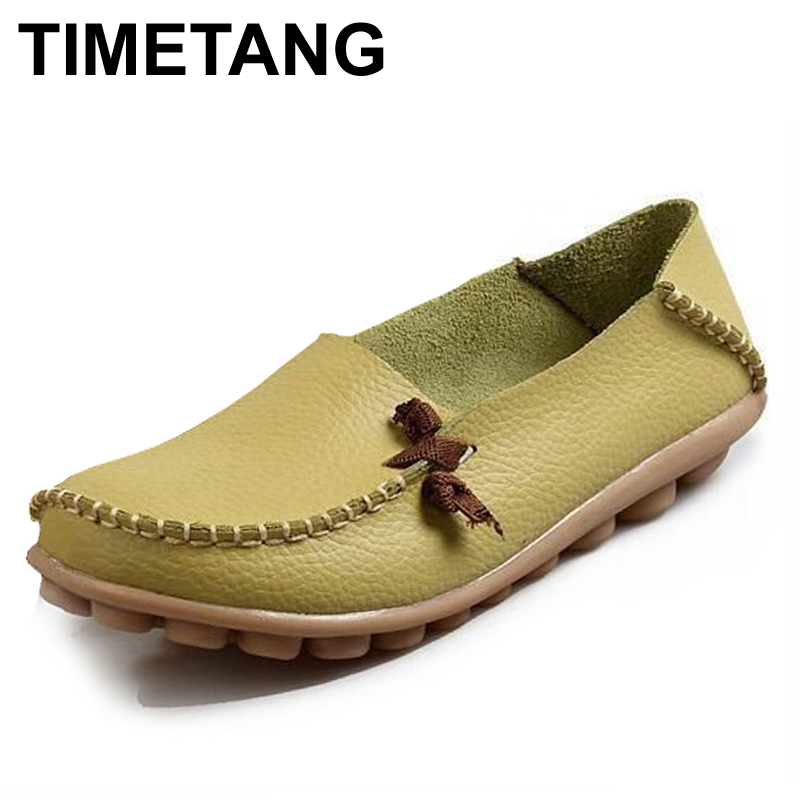 TIMETANG Women Genuine Leather Mother Shoes Moccasins Women's Soft Leisure Flats Female Driving Shoes Flat Loafers 4 colors 2017 new shoes women genuine leather flats fashion mixed colors casual soft mother loafers moccasins female driving flat shoes