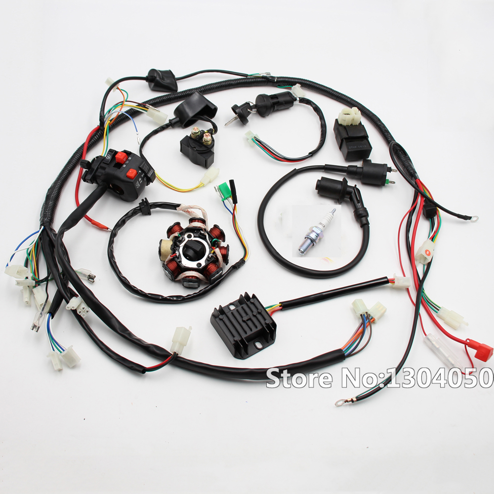 complete electrics all wiring harness wire loom assembly for gy6 [ 1000 x 1000 Pixel ]