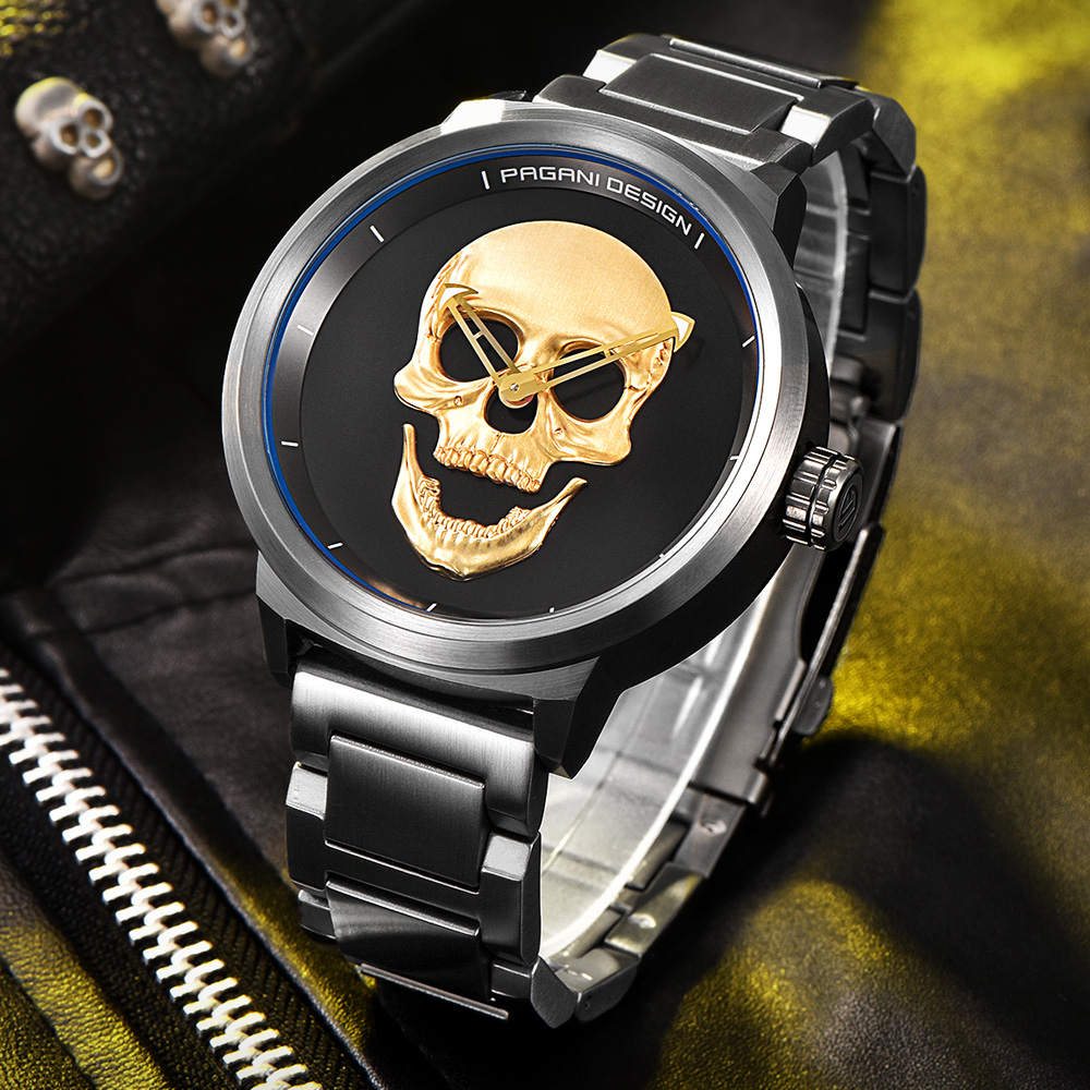 Luxury Brand PAGANI DESIGN Punk Skull Personality Retro Fashion Men's Watches Large Dial Design Waterproof Quartz Watch цена