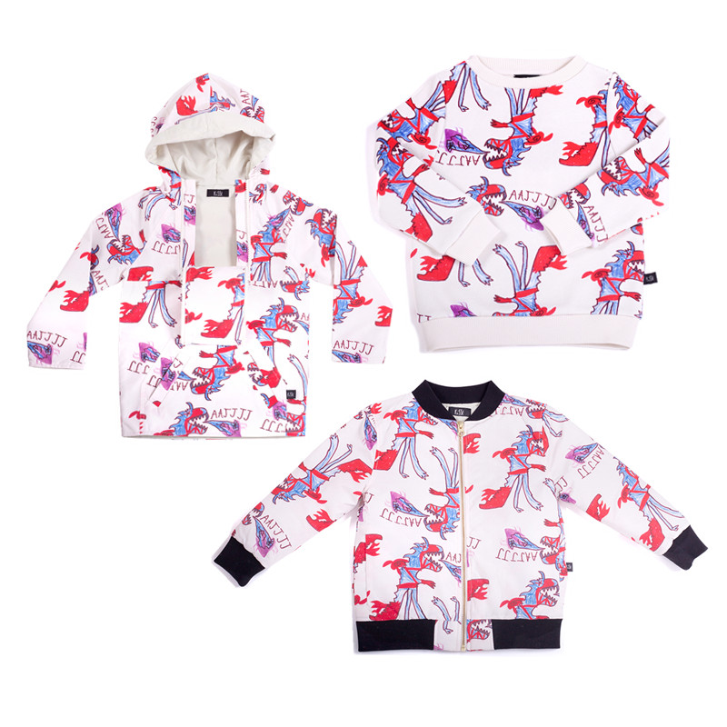 BOBOZONE 2018 New Autumn Winter Dinosaur Print Sweatshirt Coat Jacket for kids boys girls children clothing bobo choses цена 2017