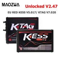 KESS V2.47 5.017 KESS V5.017 V2 versión en línea nuevo 4LED rojo PCB KTAG 7.020 protocolos completos sin Token limitado