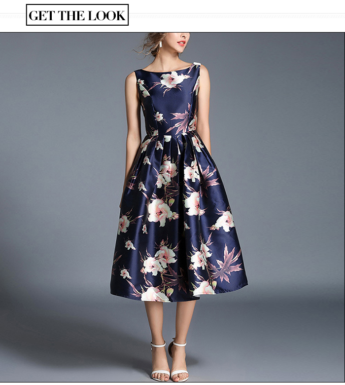 S. Flavor vintage stylish sleeveless dress elegant A-line dress rerto 2020 Spring Summer elegant sexy midi vestidos de