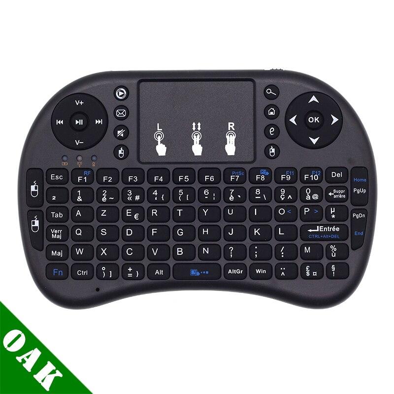 Mini i8 Clavier Sans Fil Francais 2.4 GHz Mini Clavier Sans Fil français Air souris avec pavé tactile pour Android TV Box, Mini PC, ordinateur portable
