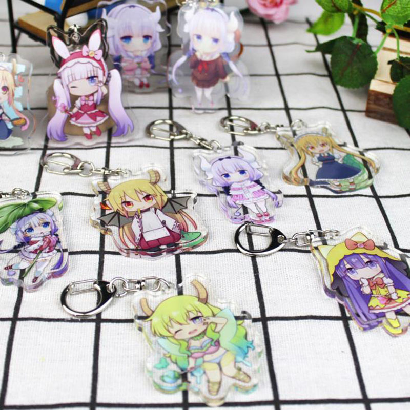 1 Pcs Hot Sale Anime Kobayashi San Chi No Maid Dragon Keychain Miss Kobayashi's Dragon Maid Elma Key Chains Holder Rings Toys