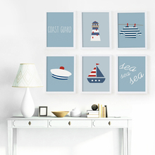 Simple And Lovely Coast Guard Whale Cartoon Canvas Art Print Poster Picture Murals Children Bedroom Home Decoration BA016