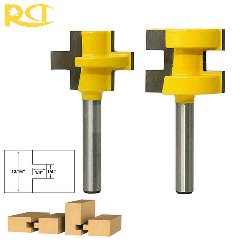 RCT 1/4'' Shank Tongue Groove Router Bit 2pcs Wood Tenon Cutter For Wainscot Panel Wood Flooring Milling Cutters 2pcs hot sale tenon cutter floor wood drill bits groove and tongue router bit 1 4 t type shank 3 teeth milling cutter for wood