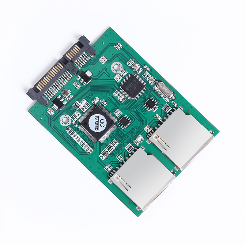 New 2 Port Dual SD SDHC MMC RAID To SATA Adapter Converter Support All SD Card 2.5inch Sata