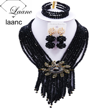 Laanc Fashion Crystal Black Beads African Jewelry Set  2017 Nigerian Wedding Party Jewelry Sets S8RSK017