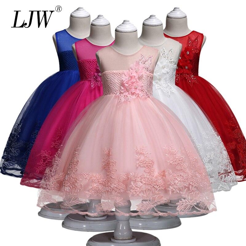 2018 Kinder Tutu Prinzessin Perle Geburtstag Party Kleid Für Mädchen Infant Spitze Kinder Brautjungfer Elegante Kleid Für Mädchen Baby Mädchen