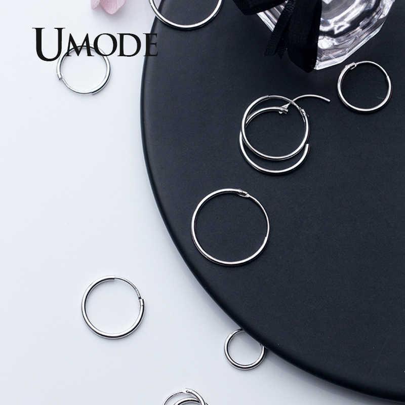 Umode Koreaanse Fashion Echt 925 Sterling Zilveren Oorbellen Voor Vrouwen Huggie Zilveren Simple Oorringen 925 Fijne Sieraden ULE0472