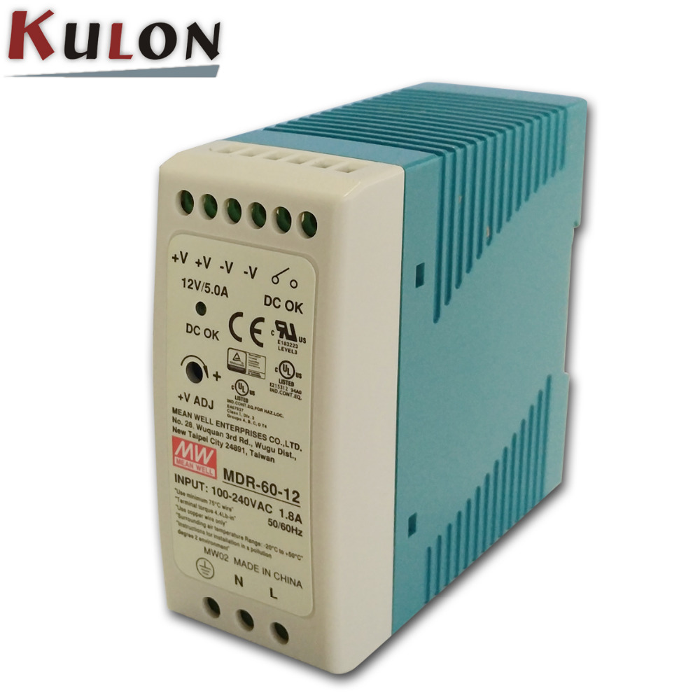 цена на Free Shipping Meanwell MDR-60 Single Phase PSU 60W 12V/5A 5V/10A 24V/2.5A 48V/1.25A DIN Rail Mounted Industrial Power Supply