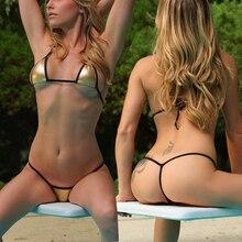 Gold Mini G-String Thong Micro Bikini