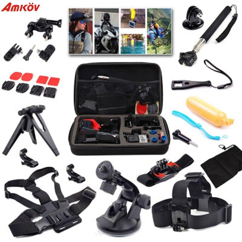 AMKOV pour Gopro accessoires Set trépied de montage pour Go Pro Hero 5 4 3 Sjcam Sj4000 pour Go Pro 5 Kit pour Xiaomi Yi 4 K caméra