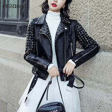 FTGSDLONG 2019 Fashion Black Faux Leather Jacket Woman Long Sleeve Street Rivets Leather Jackets Sashes Womens Pu Coat Zipper