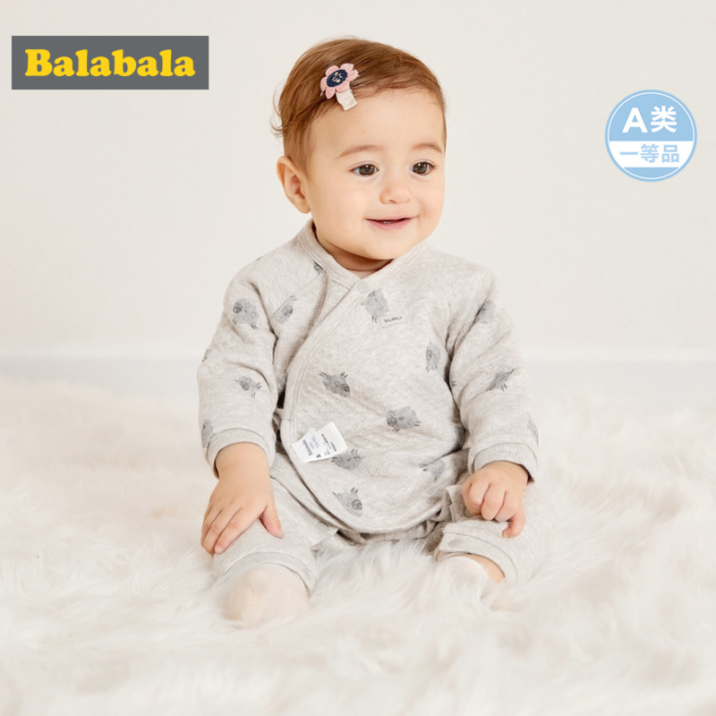 Balabala Infant Baby Boy 2-Piece Soft Cotton Lined Printed Long-sleeved Shirt + Pants Set for Winter Newborn Baby Clothing Set