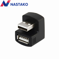 NASTAKO 2pcs U Type 180 Degree USB Male to Female Extension Extender Adapter Cable Connector for 3G Router Car Black wholesale