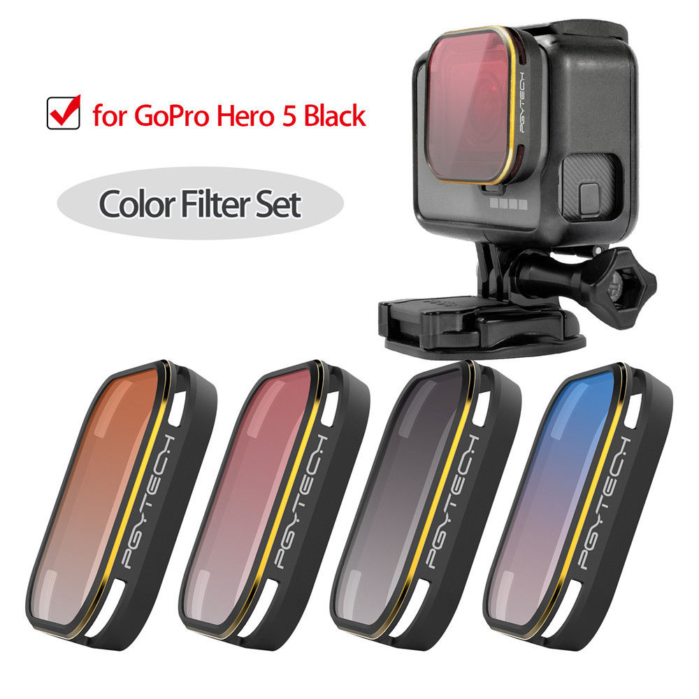 PGYTECH 4 x Gradient Color Lens Filter Camera Cover Set Grey/ Blue/ Orange/ Red for GoPro Hero 5 Black Hero5 Gopro5 5pcs set pgytech lens filters hd nd4 nd8 nd16 nd32 mrc pl for gopro hero 5 camera