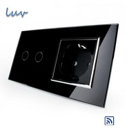Wall Light Remote Touch Switch Black Crystal Glass Panel AC 110 250V EU Standard Wall Socket